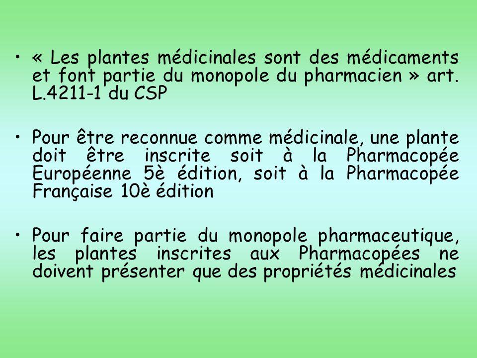 Le pharmacien dofficine doit être vigilant face aux TM de plantes non décrites aux cahiers de lagence certaines sont toxiques : TM ayant une monographie 231 à la Phée Frse : 72 toxiques 4 à la Phée Eur.