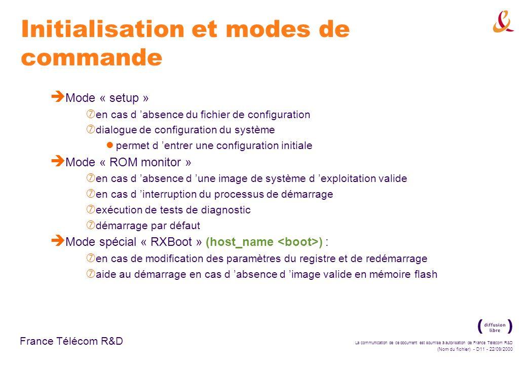 La communication de ce document est soumise à autorisation de France Télécom R&D (Nom du fichier) - D11 - 22/09/2000 France Télécom R&D Initialisation
