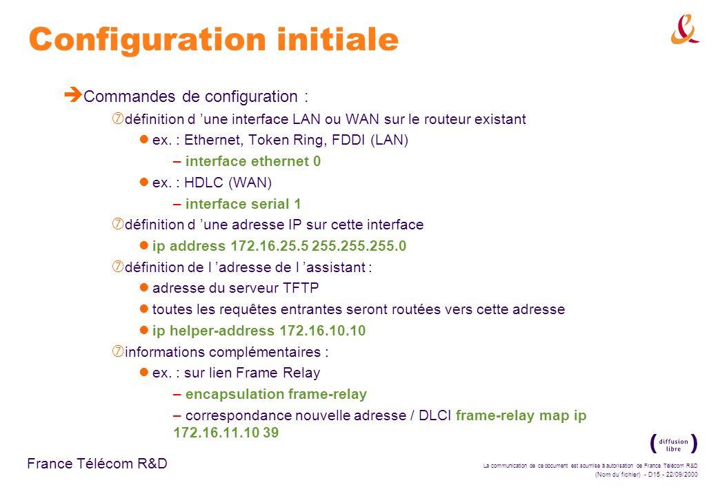 La communication de ce document est soumise à autorisation de France Télécom R&D (Nom du fichier) - D15 - 22/09/2000 France Télécom R&D Configuration