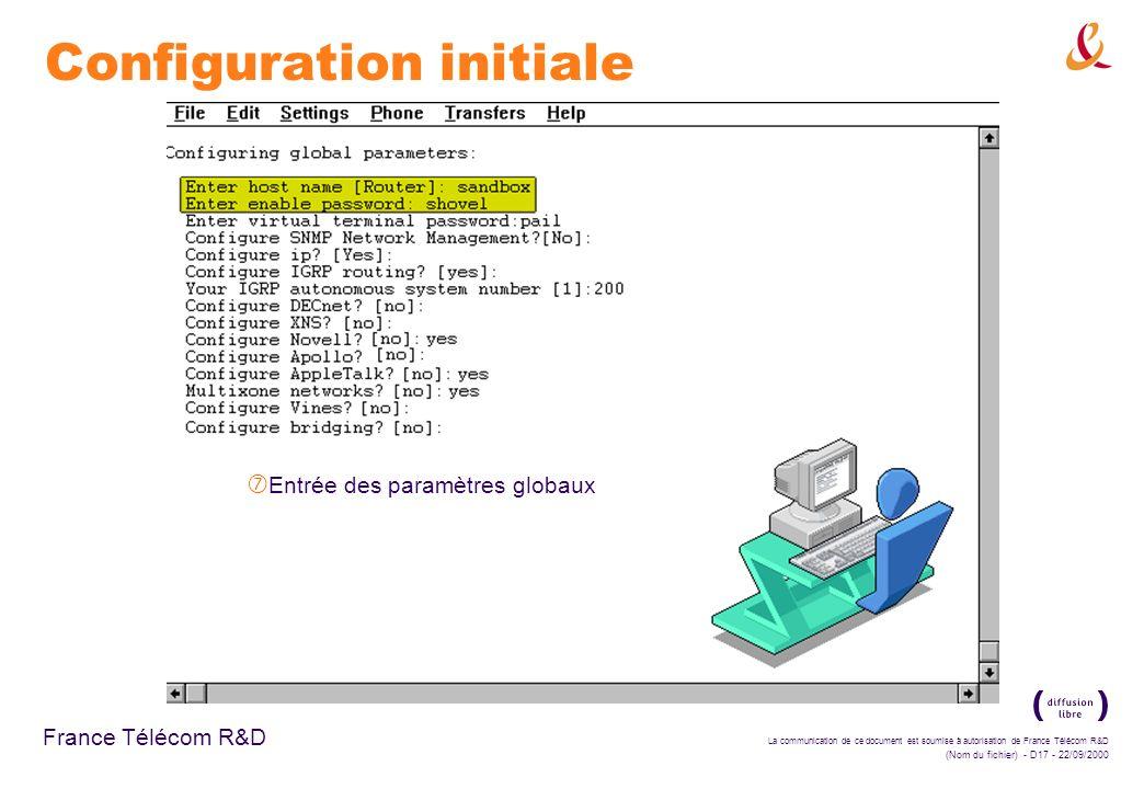 La communication de ce document est soumise à autorisation de France Télécom R&D (Nom du fichier) - D17 - 22/09/2000 France Télécom R&D Configuration