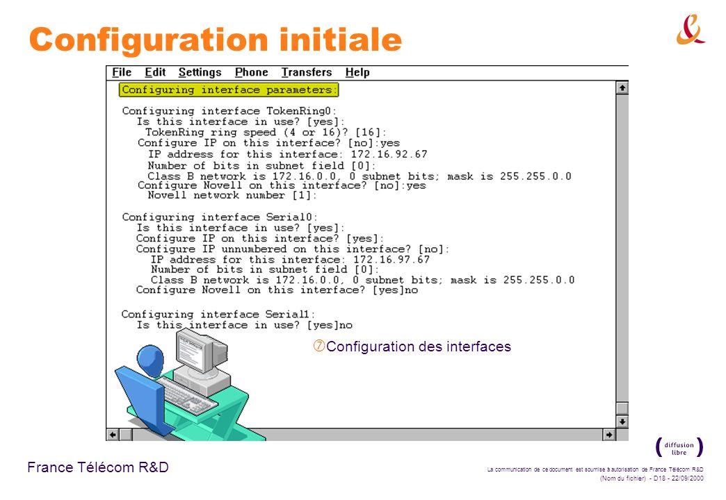 La communication de ce document est soumise à autorisation de France Télécom R&D (Nom du fichier) - D18 - 22/09/2000 France Télécom R&D Configuration