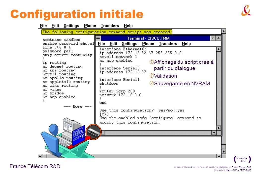 La communication de ce document est soumise à autorisation de France Télécom R&D (Nom du fichier) - D19 - 22/09/2000 France Télécom R&D Configuration