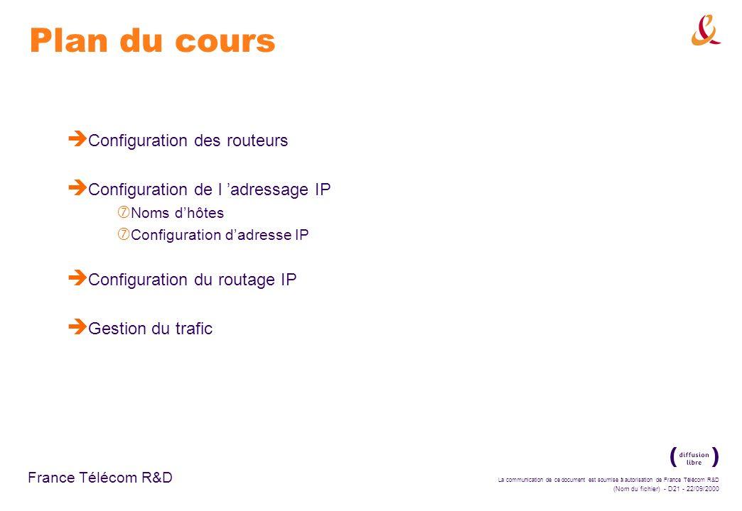 La communication de ce document est soumise à autorisation de France Télécom R&D (Nom du fichier) - D21 - 22/09/2000 France Télécom R&D Plan du cours