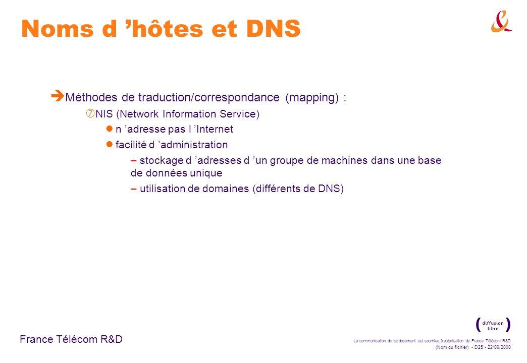 La communication de ce document est soumise à autorisation de France Télécom R&D (Nom du fichier) - D25 - 22/09/2000 France Télécom R&D Noms d hôtes e