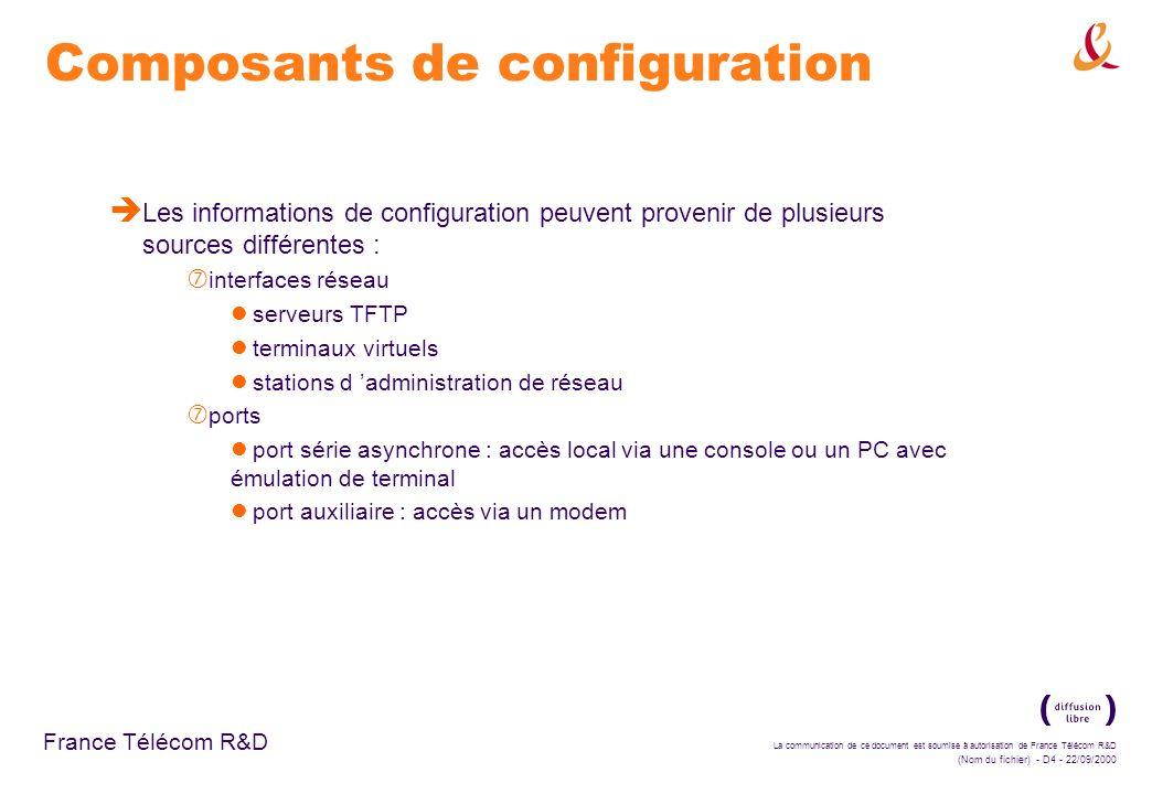 La communication de ce document est soumise à autorisation de France Télécom R&D (Nom du fichier) - D45 - 22/09/2000 France Télécom R&D Protocoles de routage intra- systèmes è Protocoles de routage intra-système : ‡ utilisés pour communiquer à l intérieur d un système autonome ‡ simples : ne nécessitent que la connaissance des autres routeurs du système réduisent la quantité de trafic de mise à jour ‡ implémentés dans la suite de protocoles TCP/IP : routage des paquets IP RIP (Routing Information Protocol) : protocole à vecteur de distance IGRP (Interior Gatrway Routing Protocol) : protocole à vecteur de distance proposé par Cisco OSPF (Open Shortest Path First) : protocole à état des liens EIGRP (Enhanced IGRP) : protocole mixte de Cisco autres protocoles propriétaires