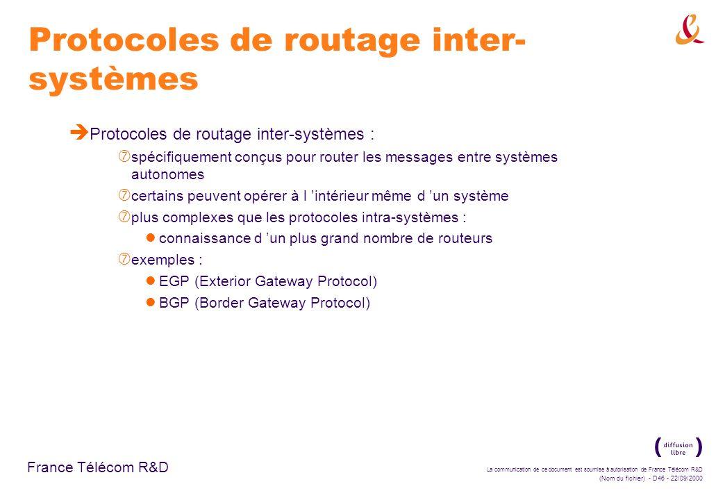 La communication de ce document est soumise à autorisation de France Télécom R&D (Nom du fichier) - D46 - 22/09/2000 France Télécom R&D Protocoles de