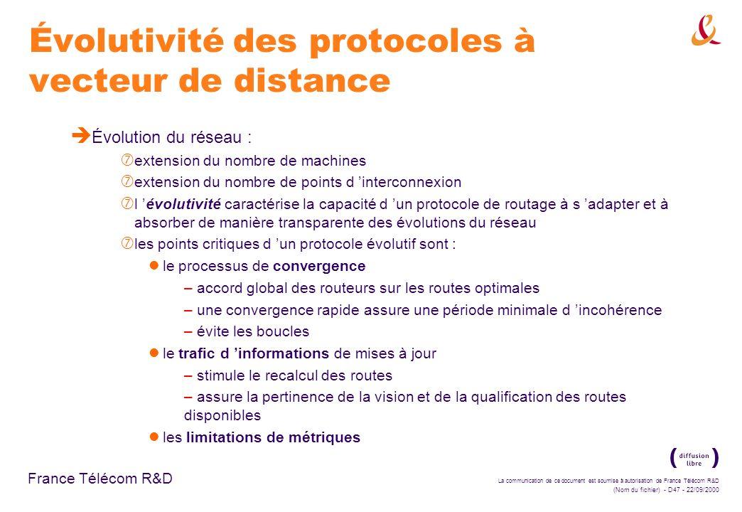 La communication de ce document est soumise à autorisation de France Télécom R&D (Nom du fichier) - D47 - 22/09/2000 France Télécom R&D Évolutivité de