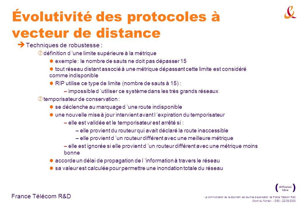 La communication de ce document est soumise à autorisation de France Télécom R&D (Nom du fichier) - D53 - 22/09/2000 France Télécom R&D Évolutivité de