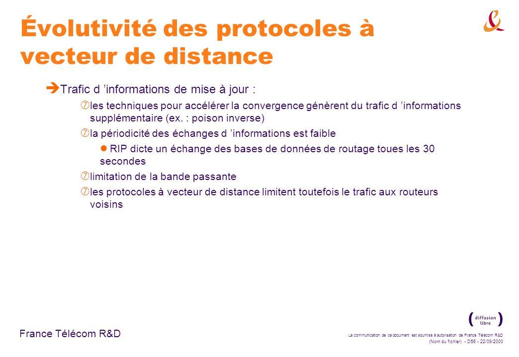 La communication de ce document est soumise à autorisation de France Télécom R&D (Nom du fichier) - D56 - 22/09/2000 France Télécom R&D Évolutivité de