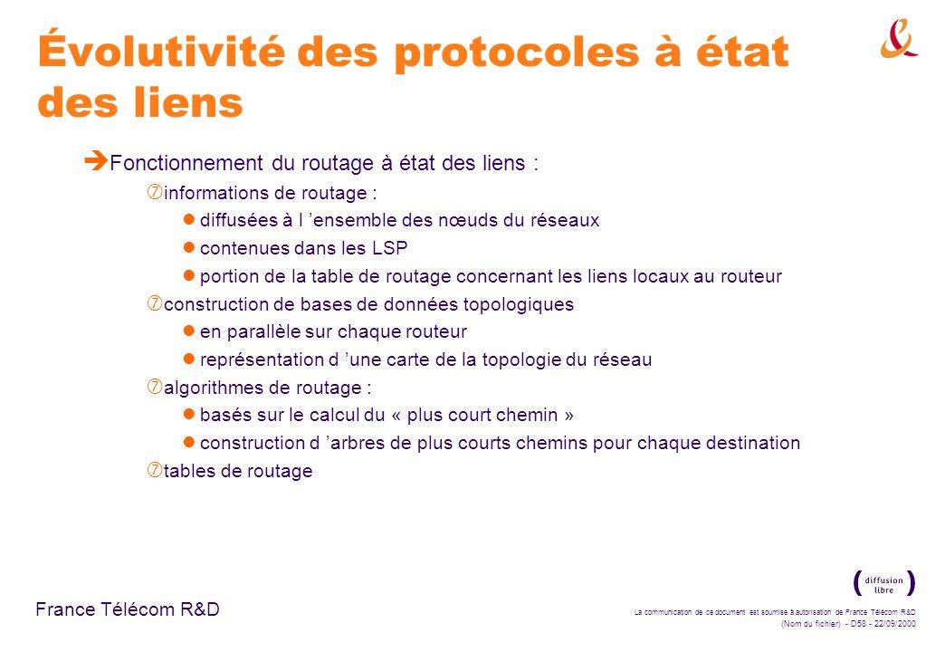 La communication de ce document est soumise à autorisation de France Télécom R&D (Nom du fichier) - D58 - 22/09/2000 France Télécom R&D Évolutivité de