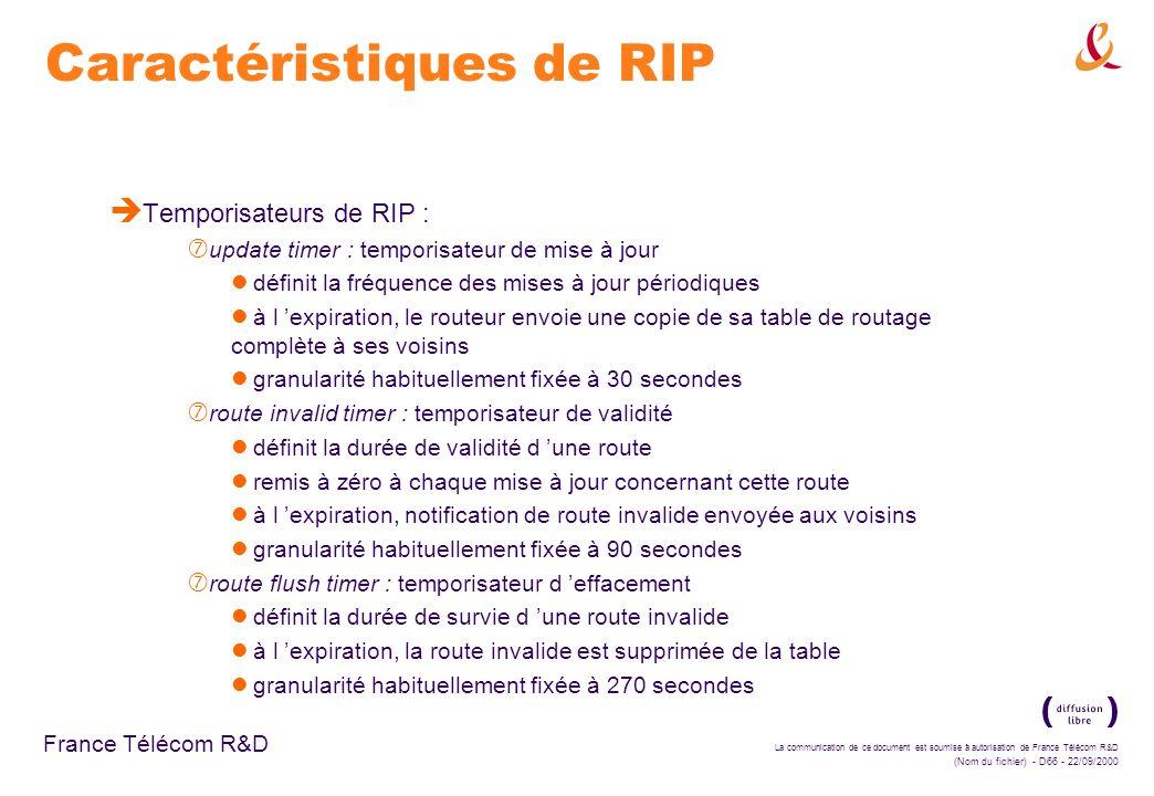 La communication de ce document est soumise à autorisation de France Télécom R&D (Nom du fichier) - D66 - 22/09/2000 France Télécom R&D Caractéristiqu