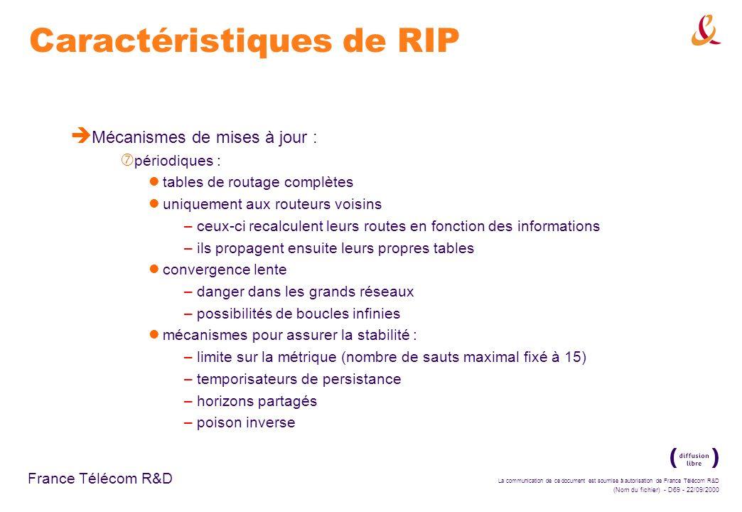 La communication de ce document est soumise à autorisation de France Télécom R&D (Nom du fichier) - D69 - 22/09/2000 France Télécom R&D Caractéristiqu