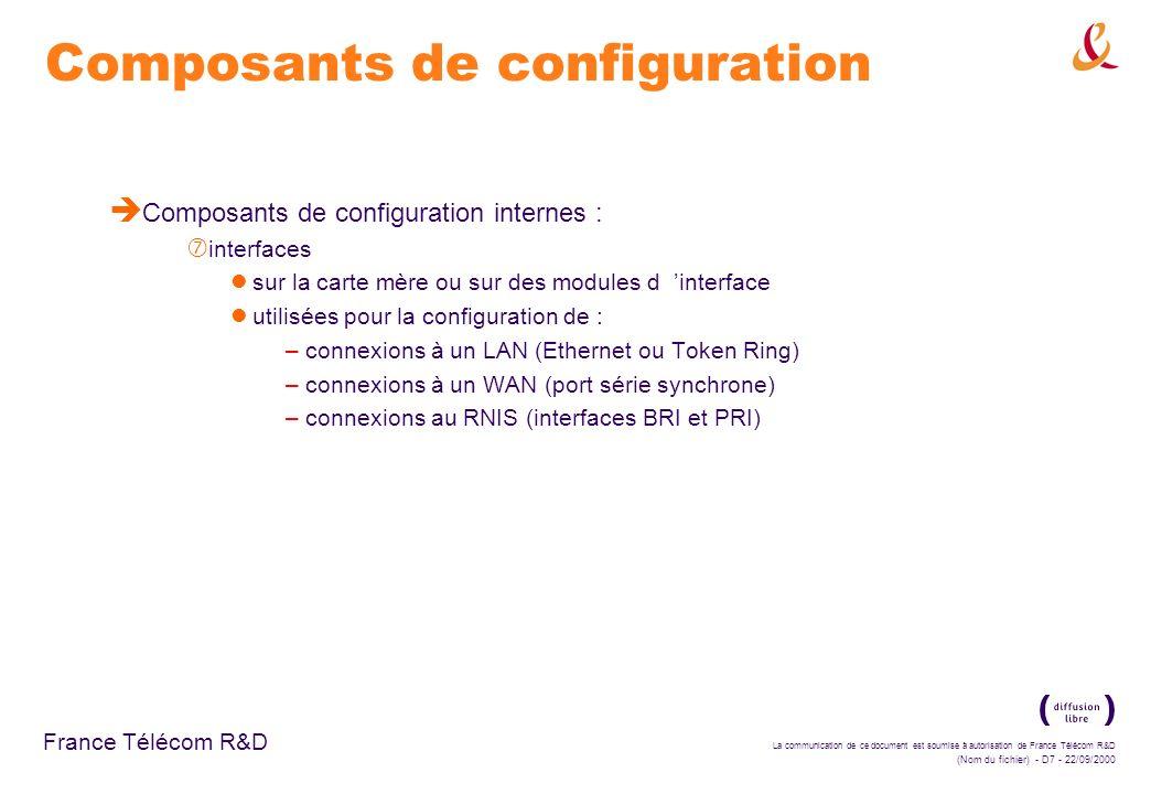 La communication de ce document est soumise à autorisation de France Télécom R&D (Nom du fichier) - D88 - 22/09/2000 France Télécom R&D Configuration des listes d accès standard è Travail sur un exemple : ‡ passage en mode privilégié sur le routeur (enable) ‡ passage en mode de configuration globale (config term) ‡ construction de la liste d accès : autorisation du serveur (access-list 3 permit 172.16.128.3) interdiction du reste du sous-réseau (access-list 3 deny 172.16.128.0 0.0.0.255)