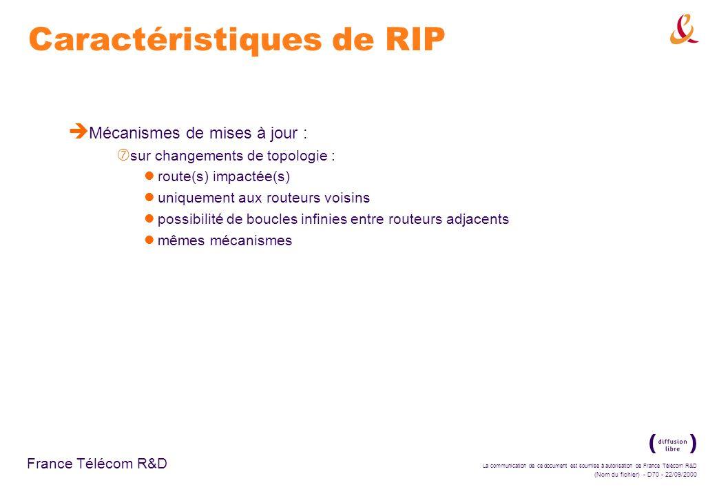 La communication de ce document est soumise à autorisation de France Télécom R&D (Nom du fichier) - D70 - 22/09/2000 France Télécom R&D Caractéristiqu