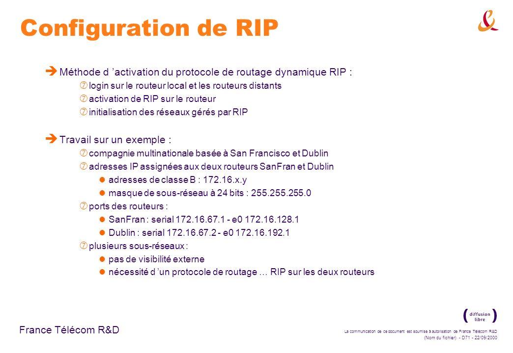 La communication de ce document est soumise à autorisation de France Télécom R&D (Nom du fichier) - D71 - 22/09/2000 France Télécom R&D Configuration
