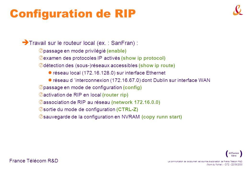 La communication de ce document est soumise à autorisation de France Télécom R&D (Nom du fichier) - D72 - 22/09/2000 France Télécom R&D Configuration