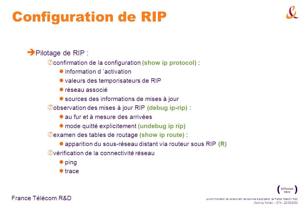 La communication de ce document est soumise à autorisation de France Télécom R&D (Nom du fichier) - D74 - 22/09/2000 France Télécom R&D Configuration