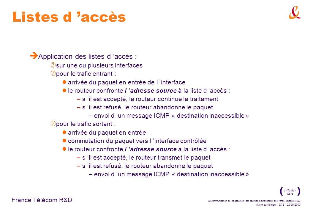 La communication de ce document est soumise à autorisation de France Télécom R&D (Nom du fichier) - D78 - 22/09/2000 France Télécom R&D Listes d accès