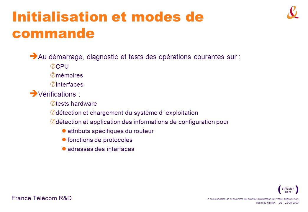La communication de ce document est soumise à autorisation de France Télécom R&D (Nom du fichier) - D89 - 22/09/2000 France Télécom R&D Configuration des listes d accès standard è Travail sur un exemple : ‡ choix de l interface Ethernet de connexion avec le sous-réseau (interface ethernet 0) ‡ association de la liste d accès (ip access-group 3 in) ‡ sortie du mode de configuration (CTRL-Z) ‡ sauvegarde de la configuration en NVRAM (copy runn start)