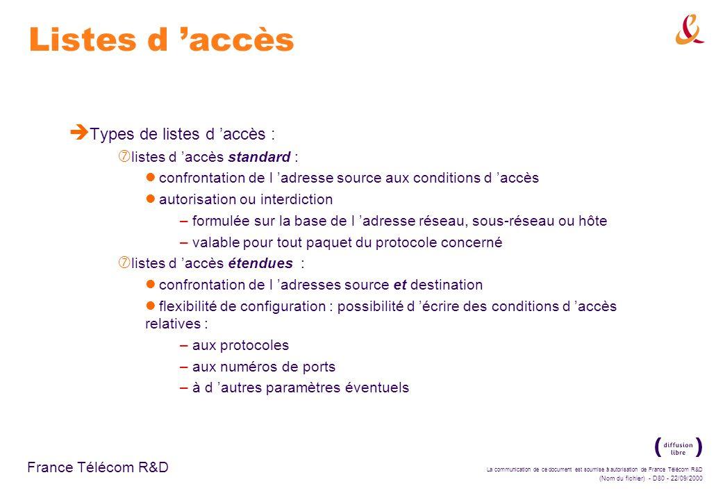 La communication de ce document est soumise à autorisation de France Télécom R&D (Nom du fichier) - D80 - 22/09/2000 France Télécom R&D Listes d accès