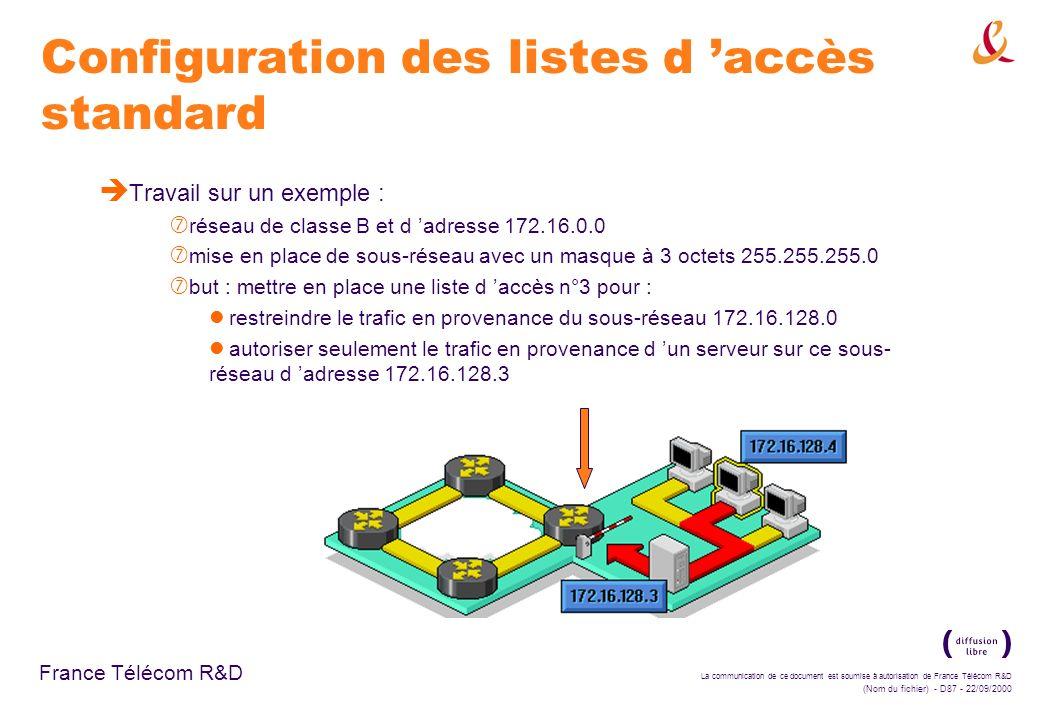 La communication de ce document est soumise à autorisation de France Télécom R&D (Nom du fichier) - D87 - 22/09/2000 France Télécom R&D Configuration