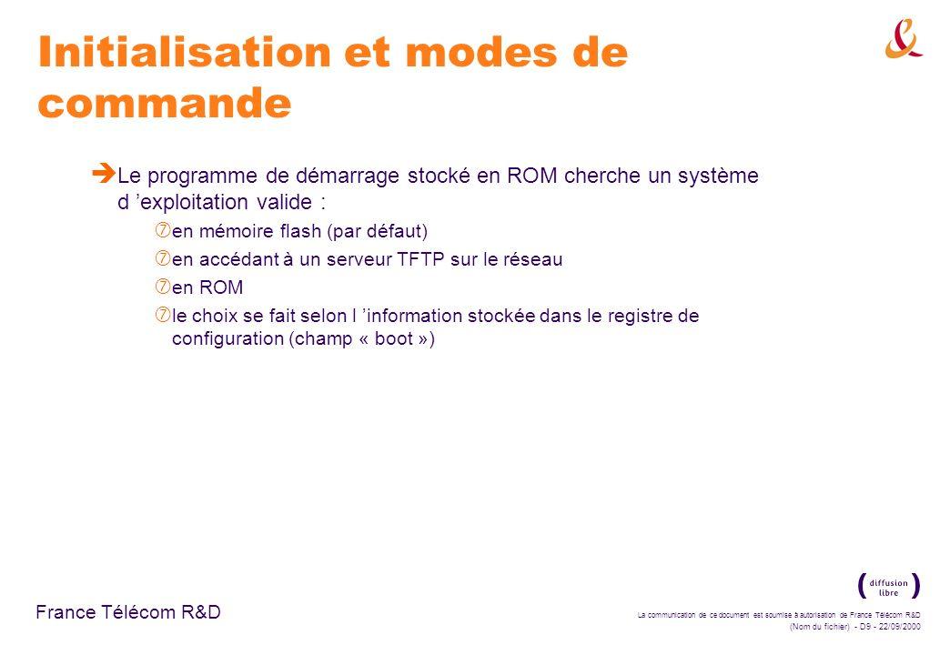 La communication de ce document est soumise à autorisation de France Télécom R&D (Nom du fichier) - D30 - 22/09/2000 France Télécom R&D Configuration d adresse IP è Configuration de la résolution d adresse : ‡ Utilisation des protocoles : ARP et proxy ARP – association dynamique d adresse IP avec adresse MAC Probe – développé par HP pour réseaux IEEE802.3 RARP – requêtes d adresse IP pour adresse MAC ‡ passer en mode privilégié (enable) de configuration (configure)