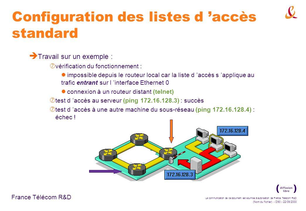 La communication de ce document est soumise à autorisation de France Télécom R&D (Nom du fichier) - D90 - 22/09/2000 France Télécom R&D Configuration