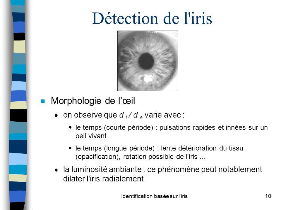 Identification basée sur l iris10 Détection de l iris n Morphologie de lœil on observe que d i / d e varie avec : le temps (courte période) : pulsations rapides et innées sur un oeil vivant.