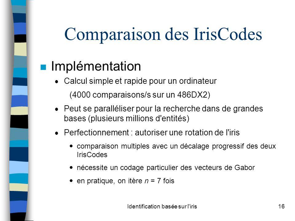 Identification basée sur l iris16 Comparaison des IrisCodes n Implémentation Calcul simple et rapide pour un ordinateur (4000 comparaisons/s sur un 486DX2) Peut se paralléliser pour la recherche dans de grandes bases (plusieurs millions d entités) Perfectionnement : autoriser une rotation de l iris comparaison multiples avec un décalage progressif des deux IrisCodes nécessite un codage particulier des vecteurs de Gabor en pratique, on itère n = 7 fois