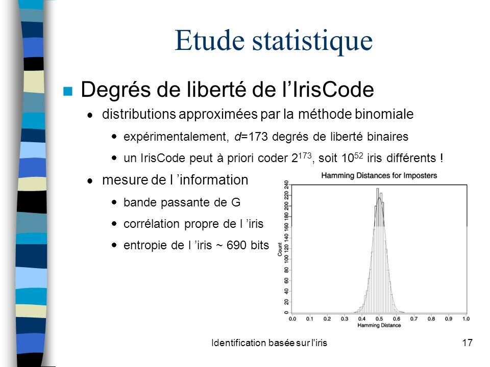 Identification basée sur l iris17 Etude statistique n Degrés de liberté de lIrisCode distributions approximées par la méthode binomiale expérimentalement, d=173 degrés de liberté binaires un IrisCode peut à priori coder 2 173, soit 10 52 iris différents .