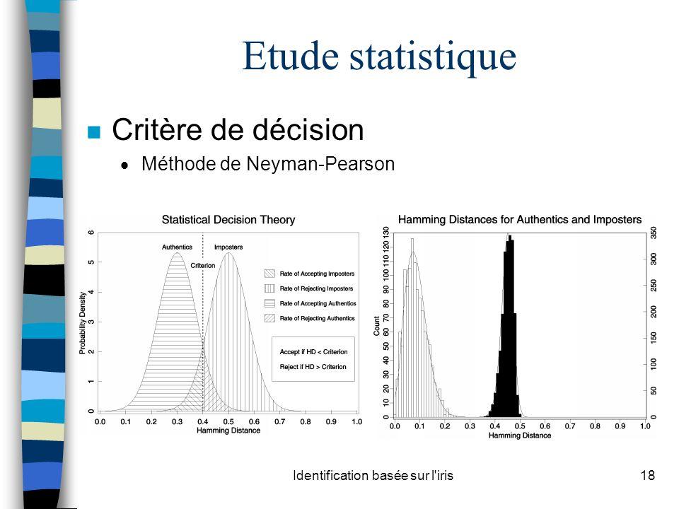 Identification basée sur l'iris18 Etude statistique n Critère de décision Méthode de Neyman-Pearson