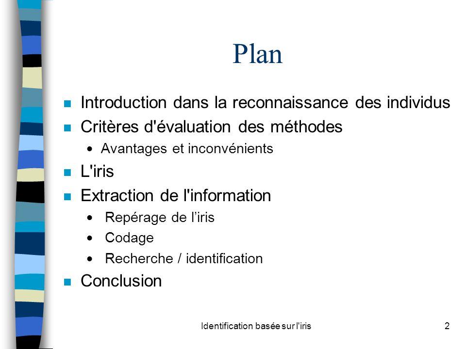 Identification basée sur l iris2 Plan n Introduction dans la reconnaissance des individus n Critères d évaluation des méthodes Avantages et inconvénients n L iris n Extraction de l information Repérage de liris Codage Recherche / identification n Conclusion