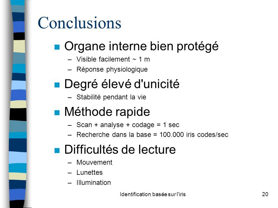 Identification basée sur l'iris20 Conclusions n Organe interne bien protégé –Visible facilement ~ 1 m –Réponse physiologique n Degré élevé d'unicité –