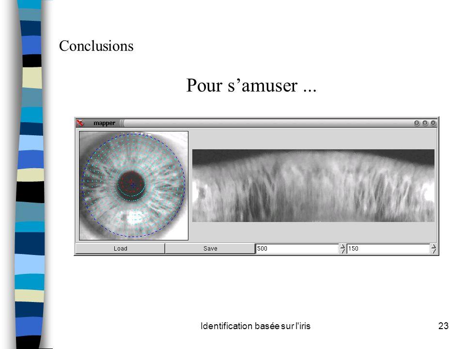 Identification basée sur l'iris23 Conclusions Pour samuser...