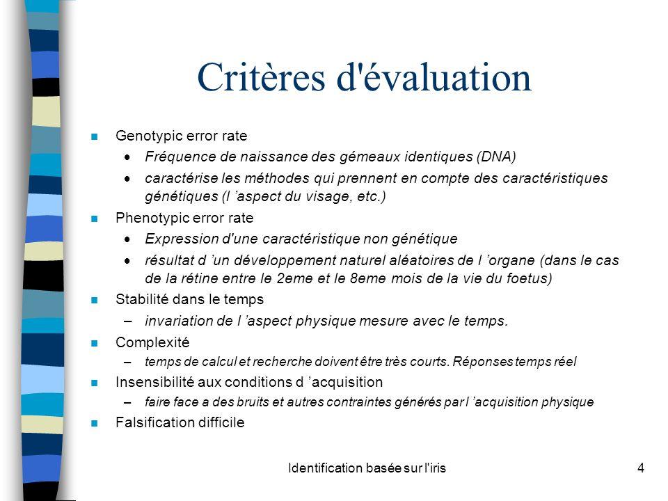 Identification basée sur l'iris4 Critères d'évaluation n Genotypic error rate Fréquence de naissance des gémeaux identiques (DNA) caractérise les méth