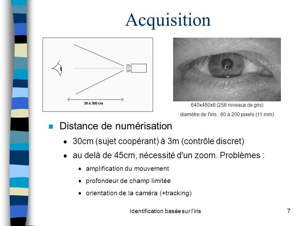Identification basée sur l'iris7 Acquisition n Distance de numérisation 30cm (sujet coopérant) à 3m (contrôle discret) au delà de 45cm, nécessité d'un