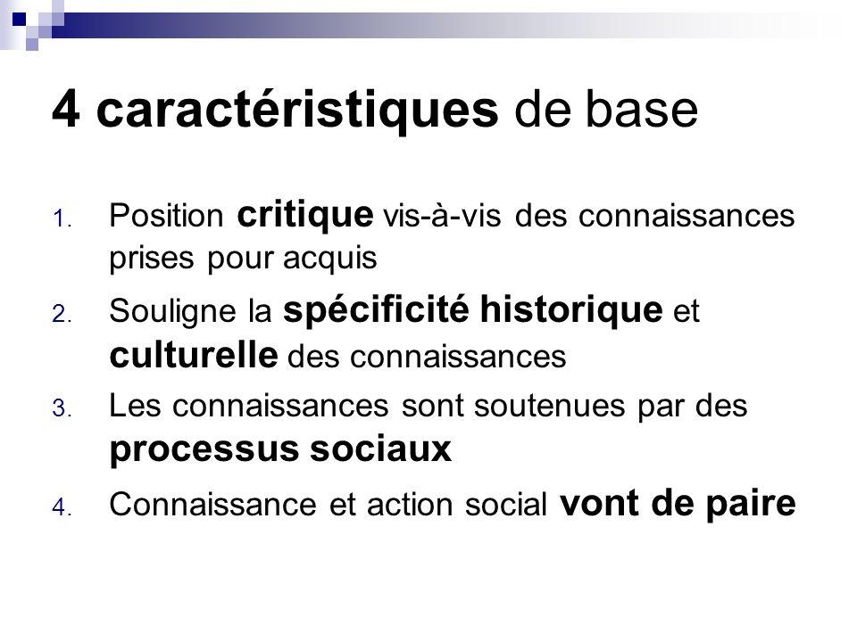 4 caractéristiques de base 1.Position critique vis-à-vis des connaissances prises pour acquis 2.