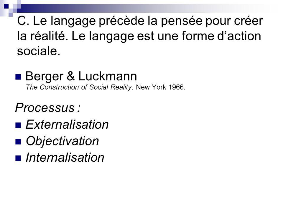 C.Le langage précède la pensée pour créer la réalité.