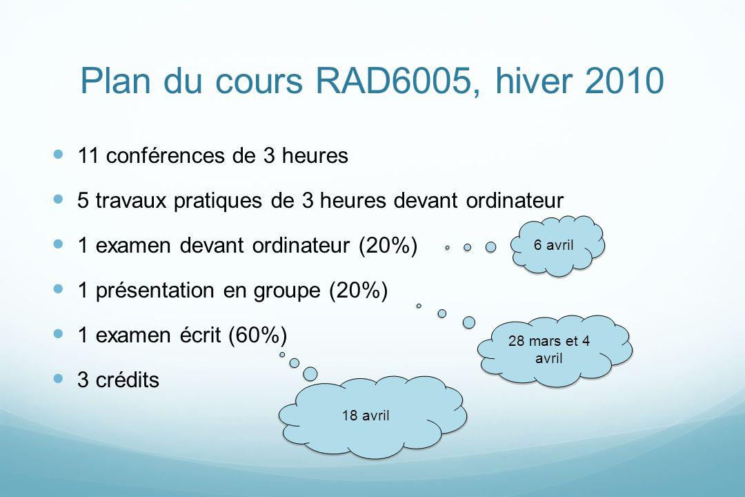 Plan du cours RAD6005, hiver 2010 11 conférences de 3 heures 5 travaux pratiques de 3 heures devant ordinateur 1 examen devant ordinateur (20%) 1 prés