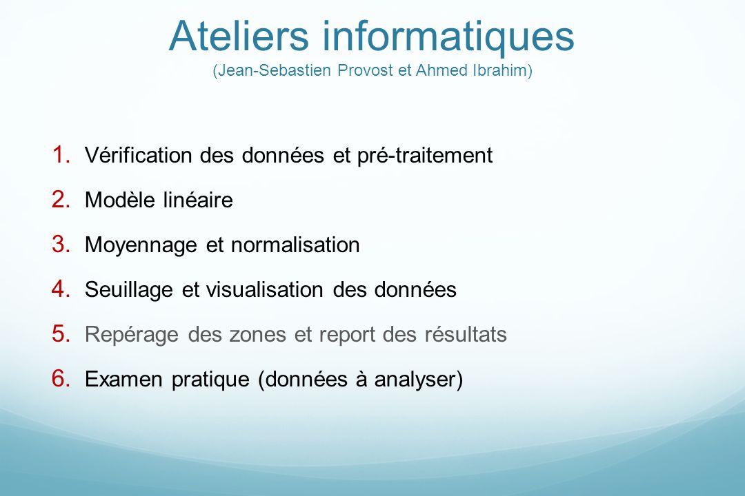 Ateliers informatiques (Jean-Sebastien Provost et Ahmed Ibrahim) 1. Vérification des données et pré-traitement 2. Modèle linéaire 3. Moyennage et norm