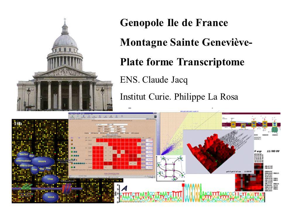 1 Genopole Ile de France Montagne Sainte Geneviève- Plate forme Transcriptome ENS.