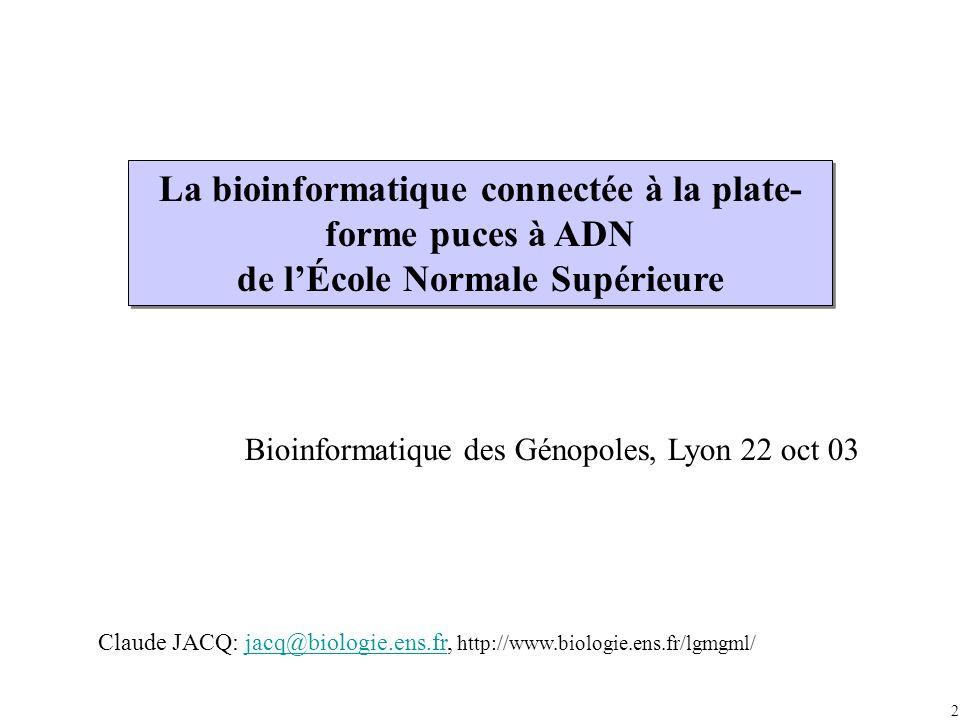 2 La bioinformatique connectée à la plate- forme puces à ADN de lÉcole Normale Supérieure Bioinformatique des Génopoles, Lyon 22 oct 03 Claude JACQ: jacq@biologie.ens.fr, http://www.biologie.ens.fr/lgmgml/jacq@biologie.ens.fr