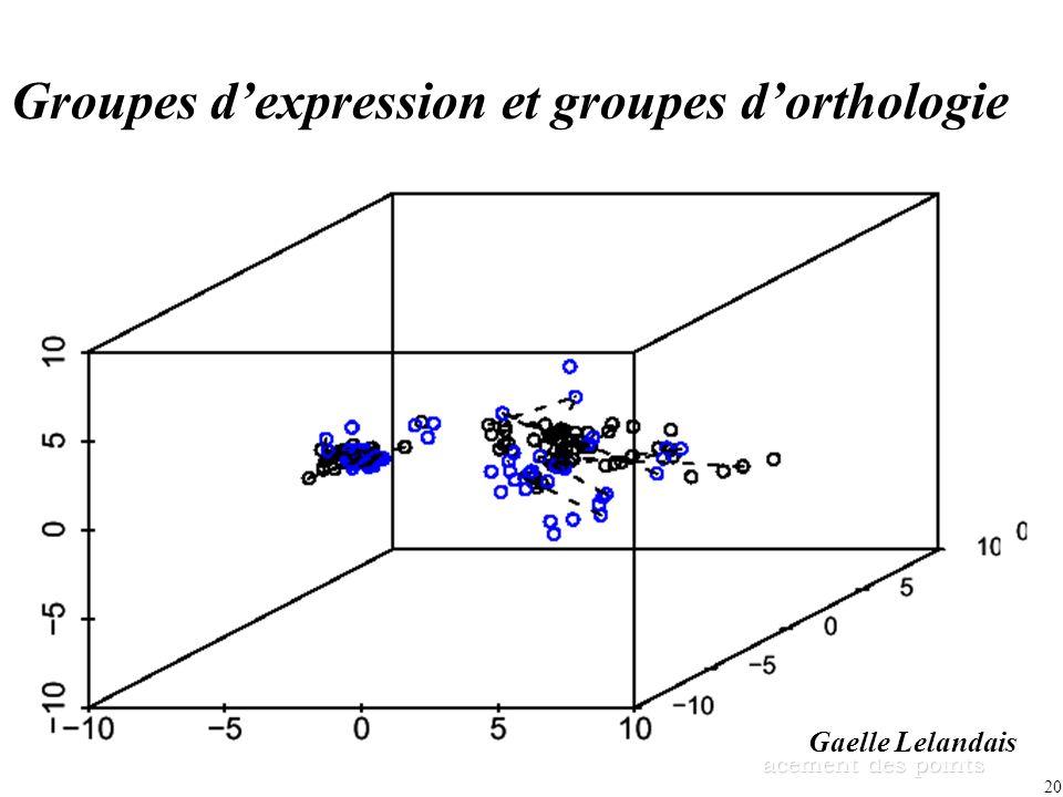 20 acement des points Groupes dexpression et groupes dorthologie Gaelle Lelandais