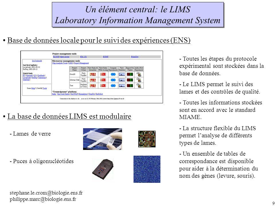 9 Un élément central: le LIMS Laboratory Information Management System Un élément central: le LIMS Laboratory Information Management System La base de données LIMS est modulaire Base de données locale pour le suivi des expériences (ENS) - Lames de verre - Puces à oligonucléotides - Toutes les étapes du protocole expérimental sont stockées dans la base de données.