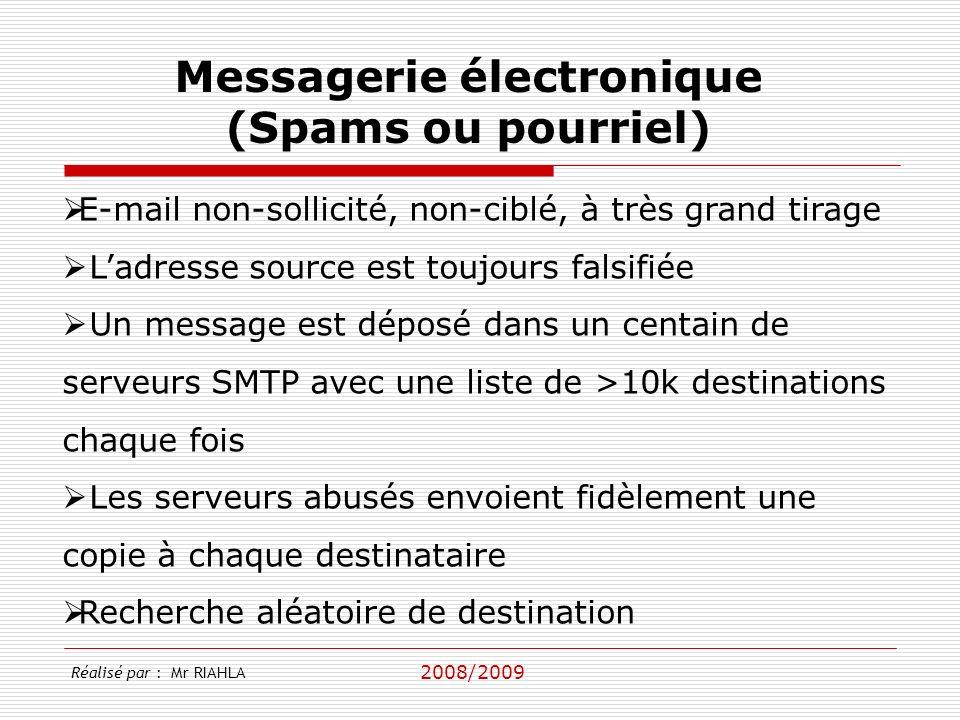 2008/2009 E-mail non-sollicité, non-ciblé, à très grand tirage Ladresse source est toujours falsifiée Un message est déposé dans un centain de serveur