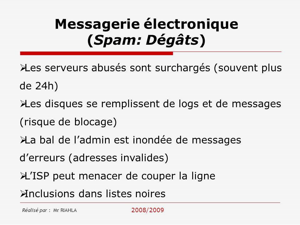 2008/2009 Les serveurs abusés sont surchargés (souvent plus de 24h) Les disques se remplissent de logs et de messages (risque de blocage) La bal de ladmin est inondée de messages derreurs (adresses invalides) LISP peut menacer de couper la ligne Inclusions dans listes noires Messagerie électronique (Spam: Dégâts) Réalisé par : Mr RIAHLA