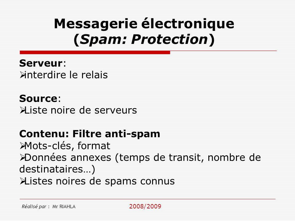 2008/2009 Serveur: interdire le relais Source: Liste noire de serveurs Contenu: Filtre anti-spam Mots-clés, format Données annexes (temps de transit,