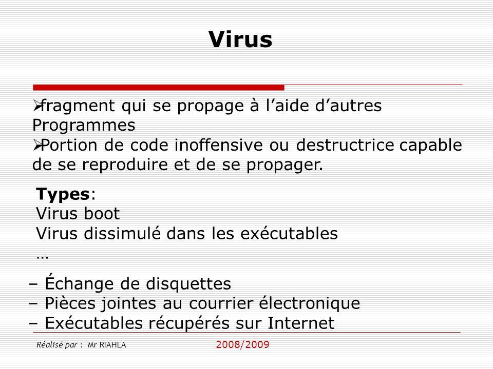 2008/2009 – Échange de disquettes – Pièces jointes au courrier électronique – Exécutables récupérés sur Internet fragment qui se propage à laide dautr