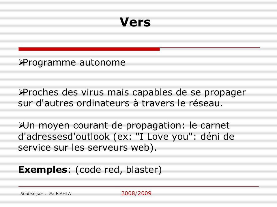 2008/2009 Programme autonome Proches des virus mais capables de se propager sur d'autres ordinateurs à travers le réseau. Un moyen courant de propagat