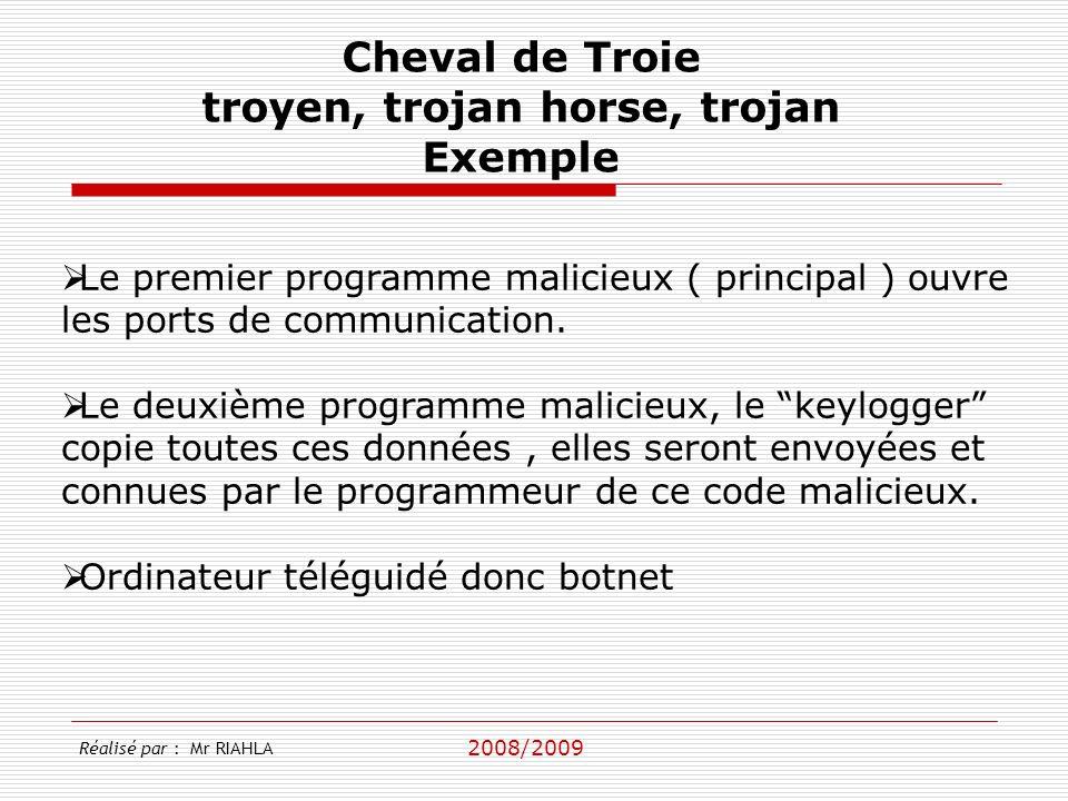2008/2009 Le premier programme malicieux ( principal ) ouvre les ports de communication. Le deuxième programme malicieux, le keylogger copie toutes ce